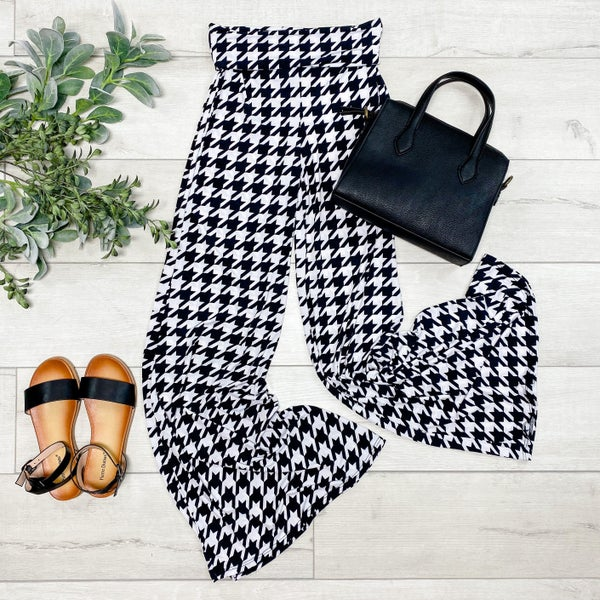 Houndstooth Palazzo Pants, Black