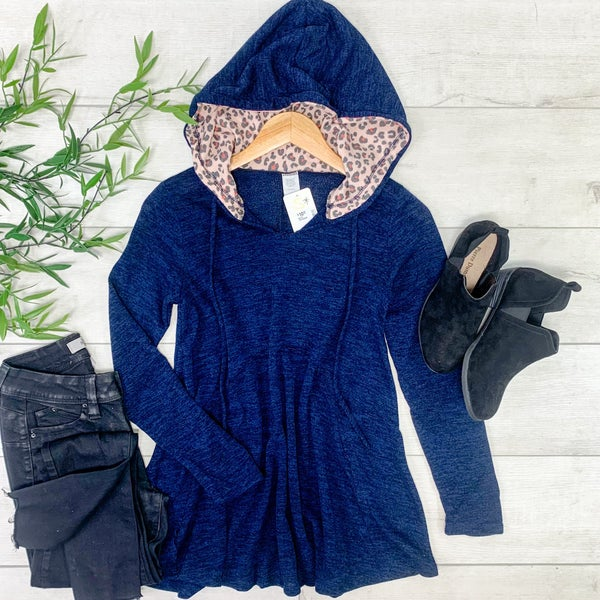 Leopard Contrast Hooded  Knit Top, Navy
