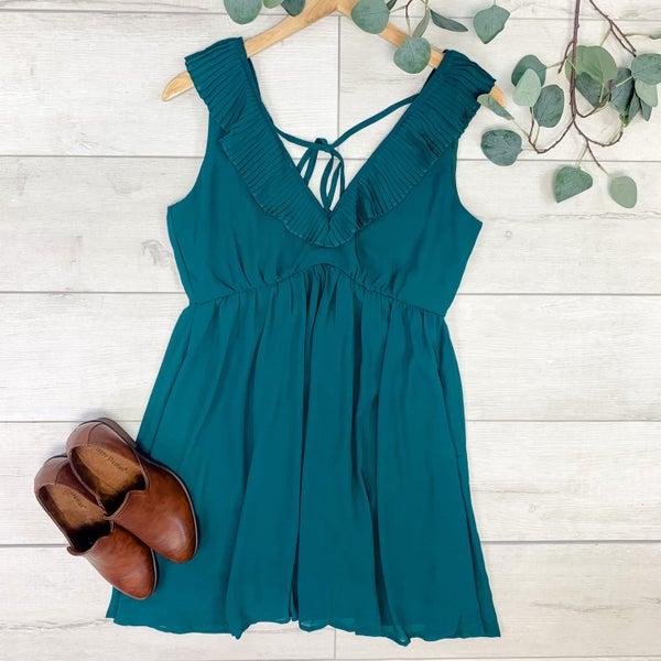 Pleated Ruffle Trim Dress, Hunter Green