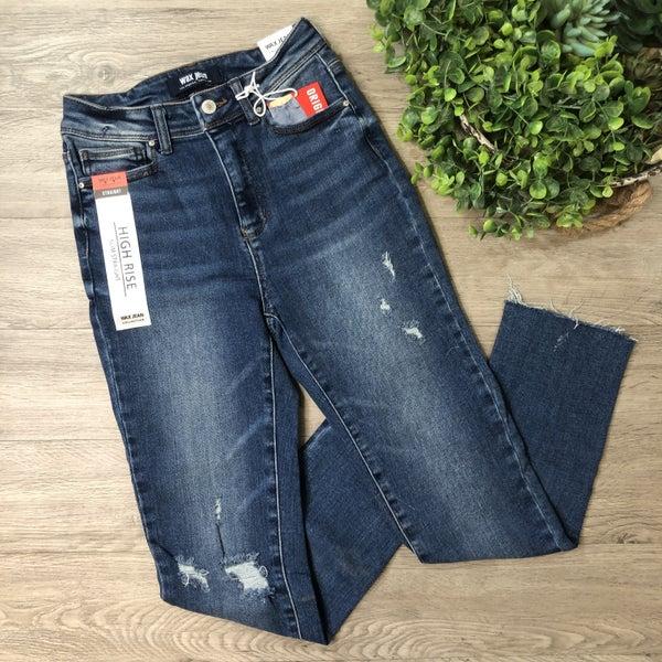 High Rise Slim Straight Jean, Dark
