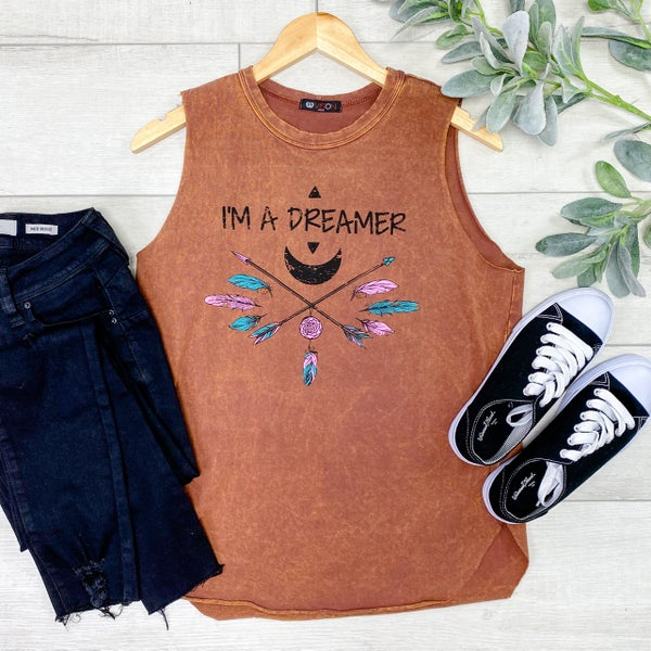 Sleeveless Dreamer Graphic Top, Rust
