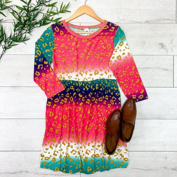 Animal Patterned Babydoll Dress, Teal/Pink