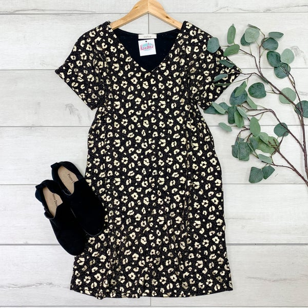 *Kendra's Collection*  Leopard Metallic Short Sleeve Dress, Black/Gold *Final Sale*