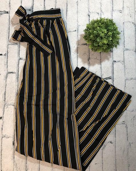 Striped Pants w/Tie Waist, Black/Gold (N)