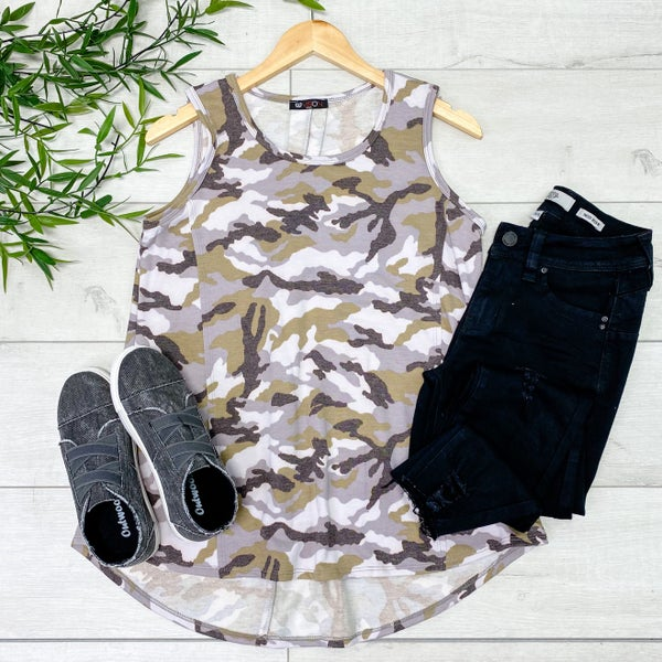 Sleeveless Flowy Camo Tunic, Lilac *Final Sale*