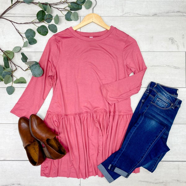 3/4 Sleeve Solid Ruffle Bottom Top, Rose