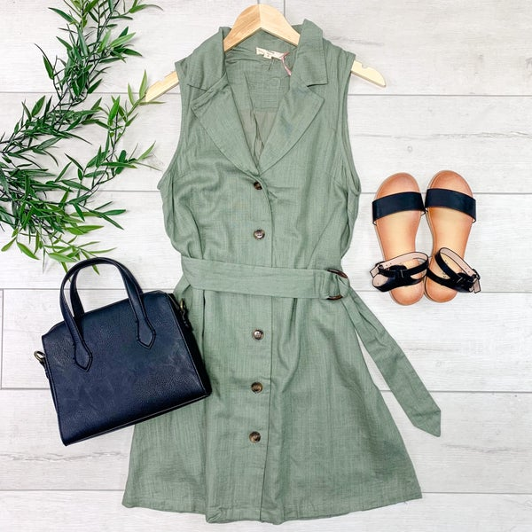 Sleeveless Button Down Dress, Olive