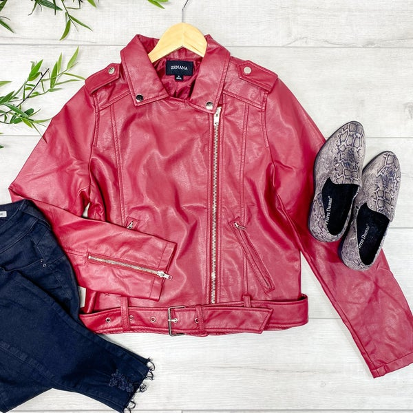 Vegan Leather Moto Jacket, Dark Red