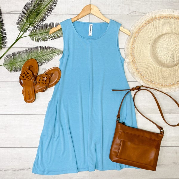 Solid Sleeveless Tunic w/Pockets, Milky Blue [[LIVE]] *Final Sale*