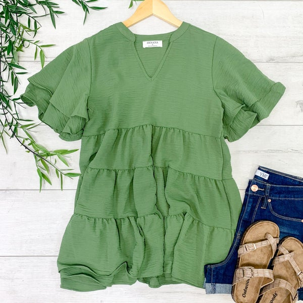Tiered Ruffle Top, Ash Olive