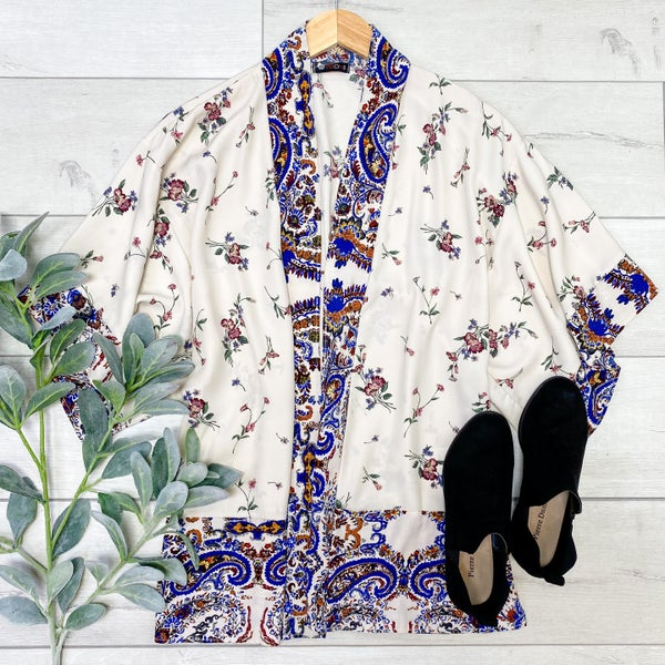 Floral and Paisley Patterned Kimono, Cream