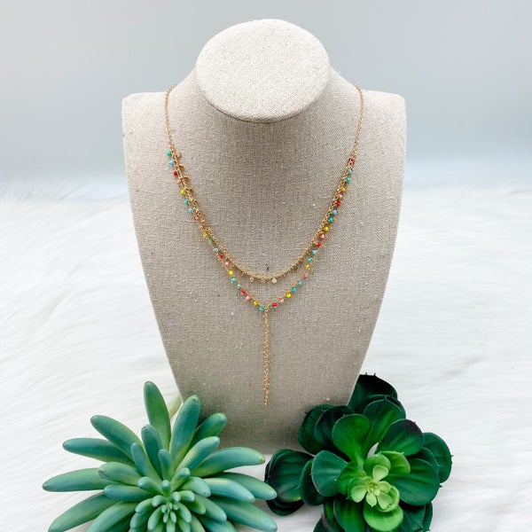 Short Layered Beaded Chain Necklace, Gold