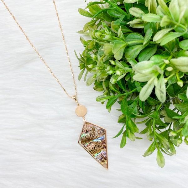 Arrow Head Abalone Long Necklace, Green