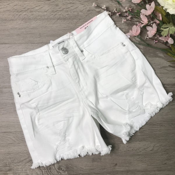 YMI Mid Rise Shorts w/Fray Hem, White *Final Sale*