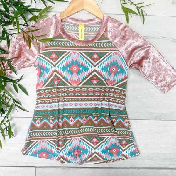 *Kid's Collection* Velvet Aztec Contrast Top, Pink