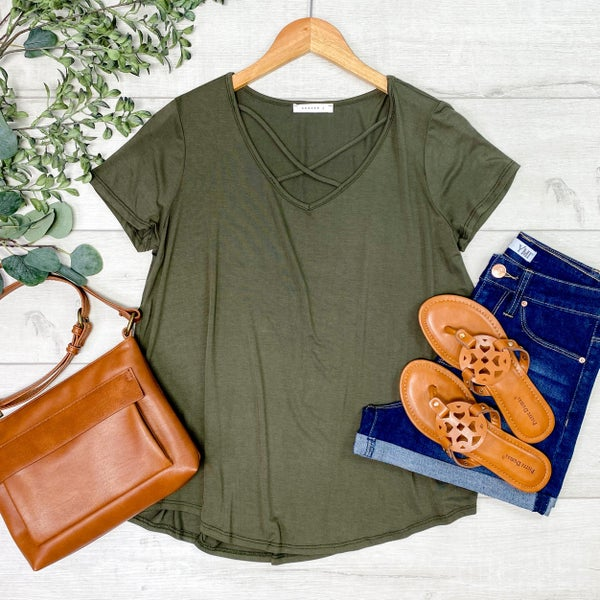 Criss Cross Neck Top, Olive