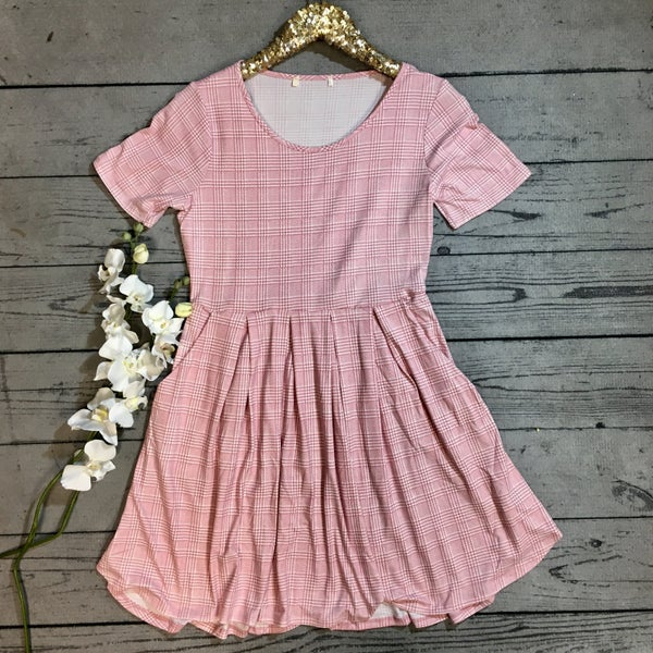 Checkered Dress with Pockets - PINK *Final Sale*