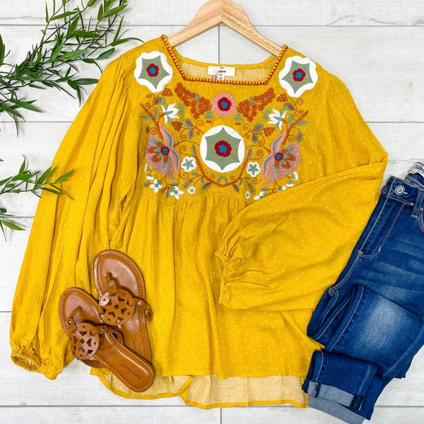 Polka Dot and Embroidered Top, Mustard