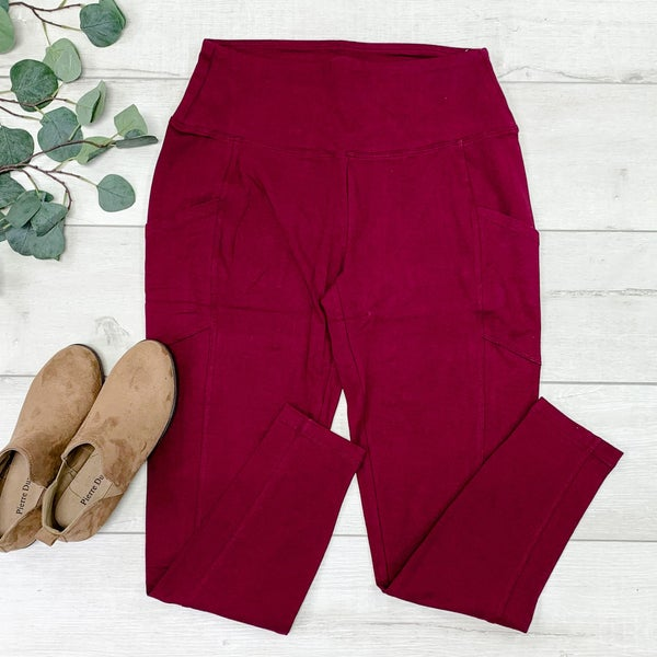 Athletic Leggings w/Pockets, Dark Burgundy