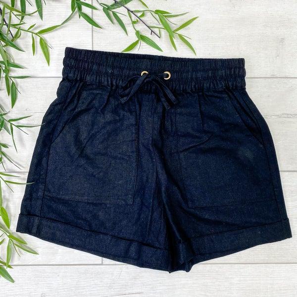 Drawstring Cuffed Linen Shorts w/Pockets, Black