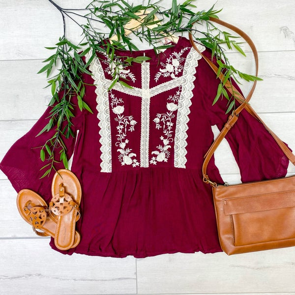 Ruffle Sleeve Embroider Detailed Peplum Top, Burgundy