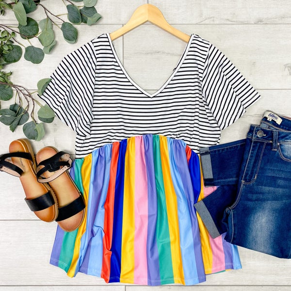 Contrast Striped Babydoll Top, Multi