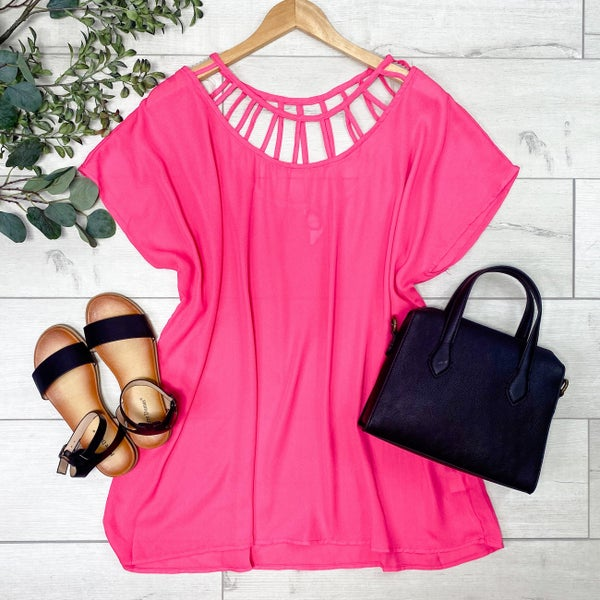 Solid Top with Caged Neckline, Fuchsia