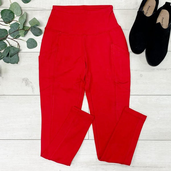Athletic Leggings w/Pockets, Dark Red