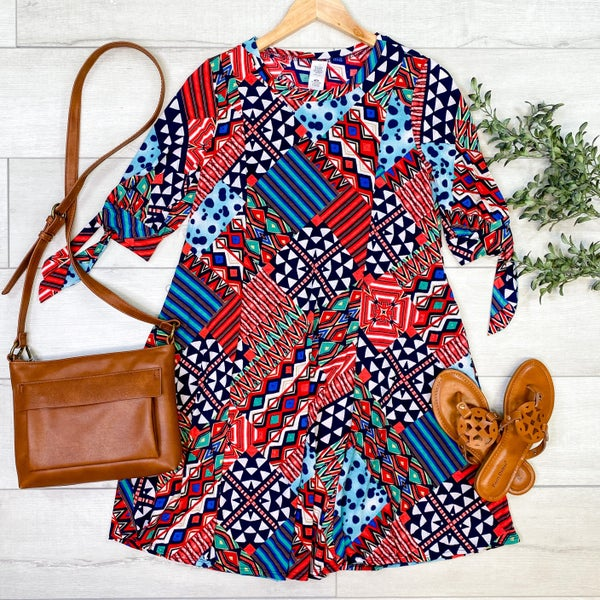 Patterned Swing Dress w/Tie Sleeves,  Navy