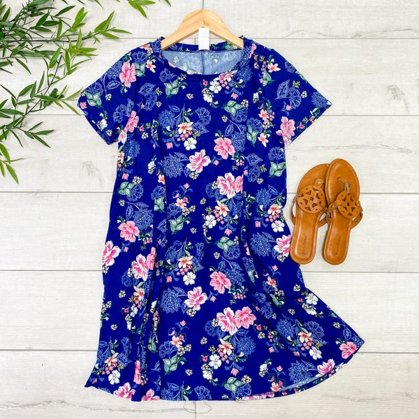 Floral Swing Dress, Dark Blue