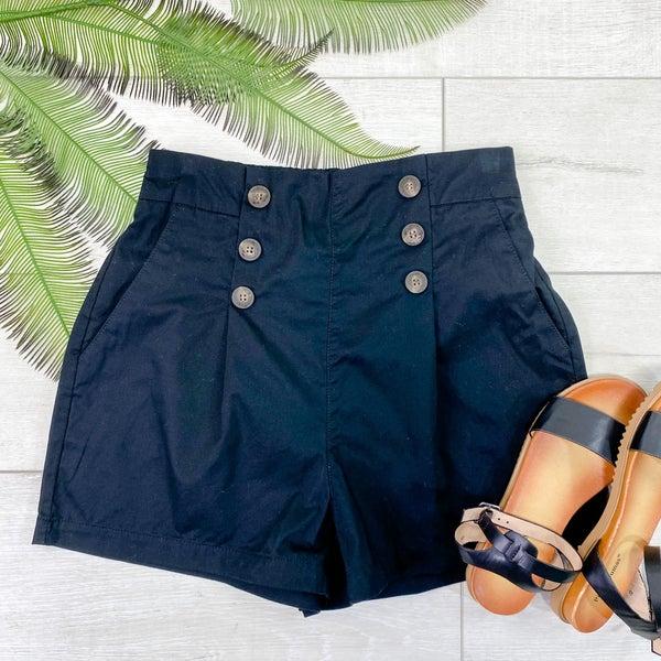 Button Front Shorts, Black