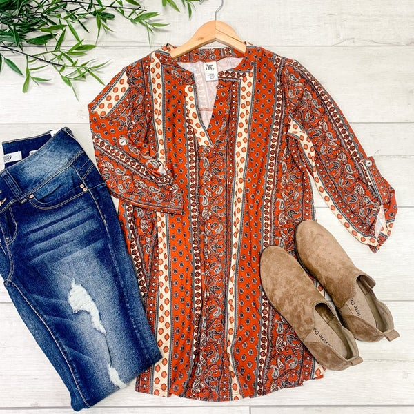 Patterned Cuffed Sleeve V-neck Top, Rust