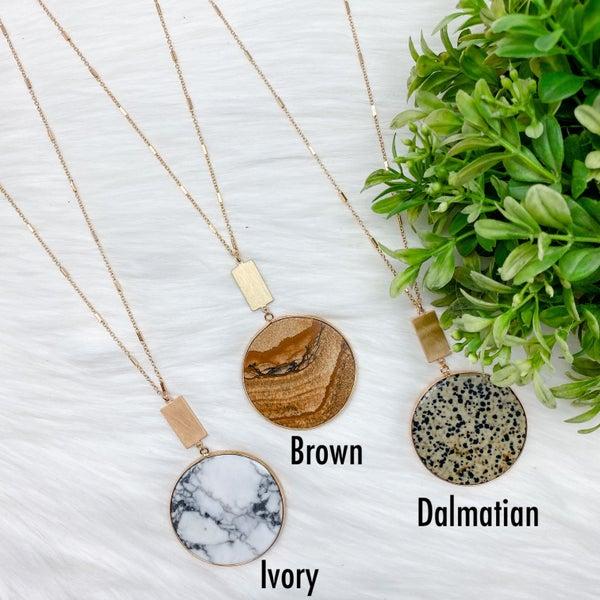 Round Stone Pendant Long Necklace