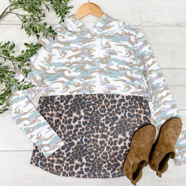 *Kendra's Collection* Leopard & Camo Print Color Block Hoodie *Final Sale*