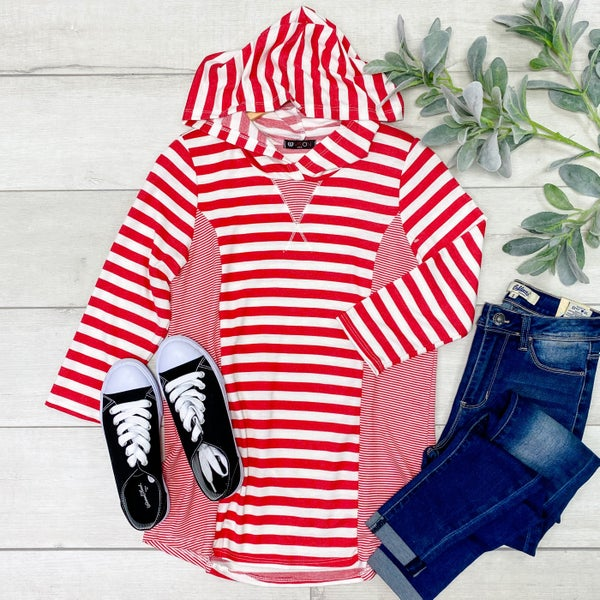 Contrast Striped Hooded Pullover, Red