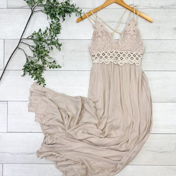 Maxi Dress w/Bralette Halter Top, Taupe