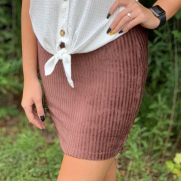Corduroy Skirt, Dark Burgundy (N)