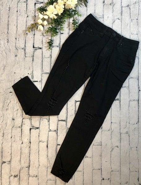 YMI-Distressed Mid-Rise Ankle Skinny Jean, Black (N) [[LIVE]]