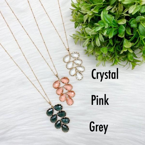 Leaf Crystal Long Necklace *Final Sale*