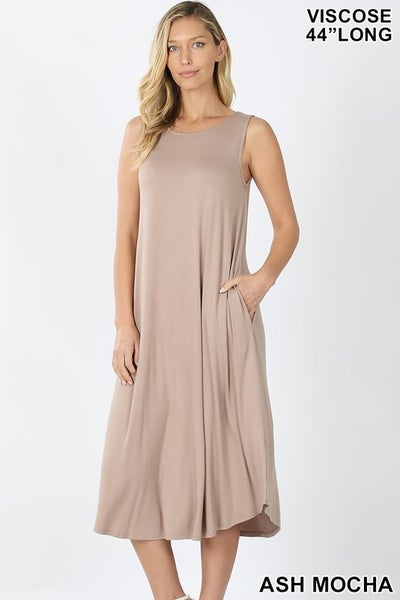 Sleeveless Midi Dress - ASH MOCHA