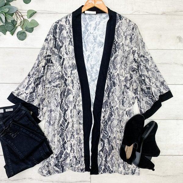 Snake Print Kimono, Tan Black