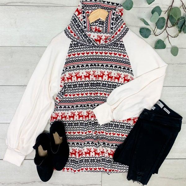 Knit Cowl Neck Deer Pattern Raglan Top, Ivory