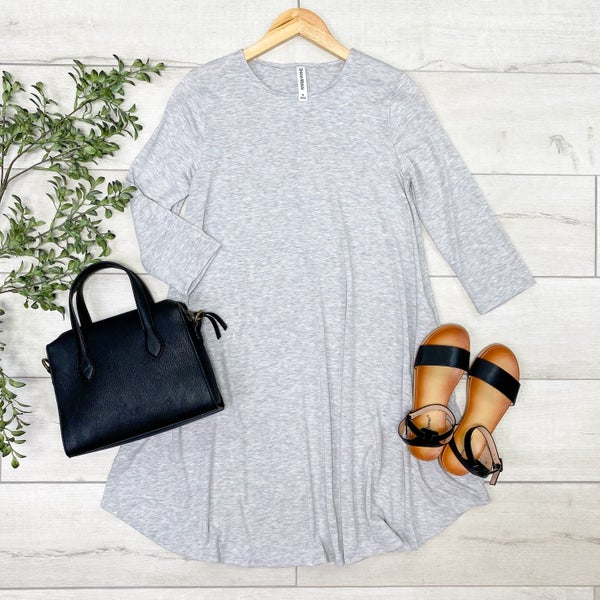 Solid Swing Dress w/Pockets, Heather Gray [[LIVE]]