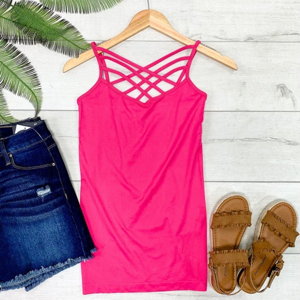Criss Cross Neck Cami, Neon Pink