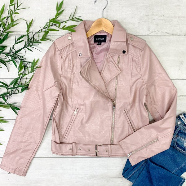 Vegan Leather Snake Pattern Moto Jacket, Blush