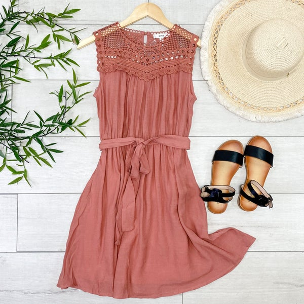 Crochet Belted Waist Tank Mini Dress, Dusty Rose