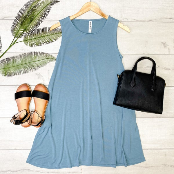 Solid Sleeveless Tunic w/Pockets, Blue Gray [[LIVE]] *Final Sale*