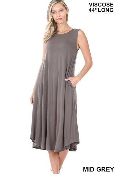 Sleeveless Midi Dress - MID GREY