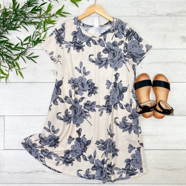 Large Print Floral Swing Dress, Taupe