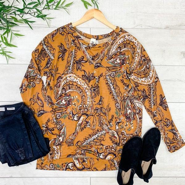 Floral Patterned Pullover, Goldenrod